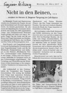 Siegener Tangotag Artikel Siegener Zeitung